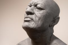 Sketch of Maori Chief - clay, by Javier Murcia
